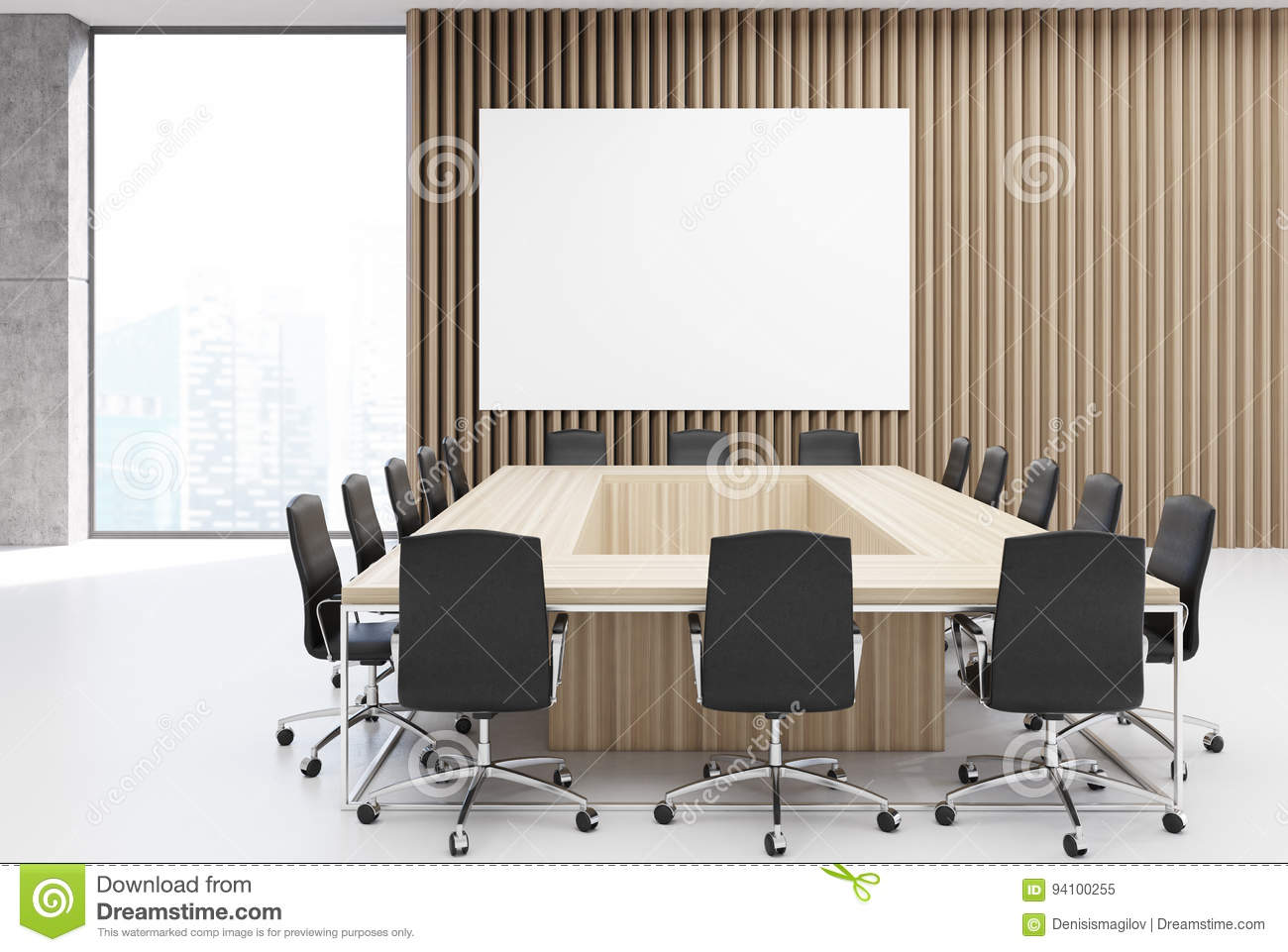 Rectangular Meeting Room Poster Wood Stock Illustration - Rectangular conference room table