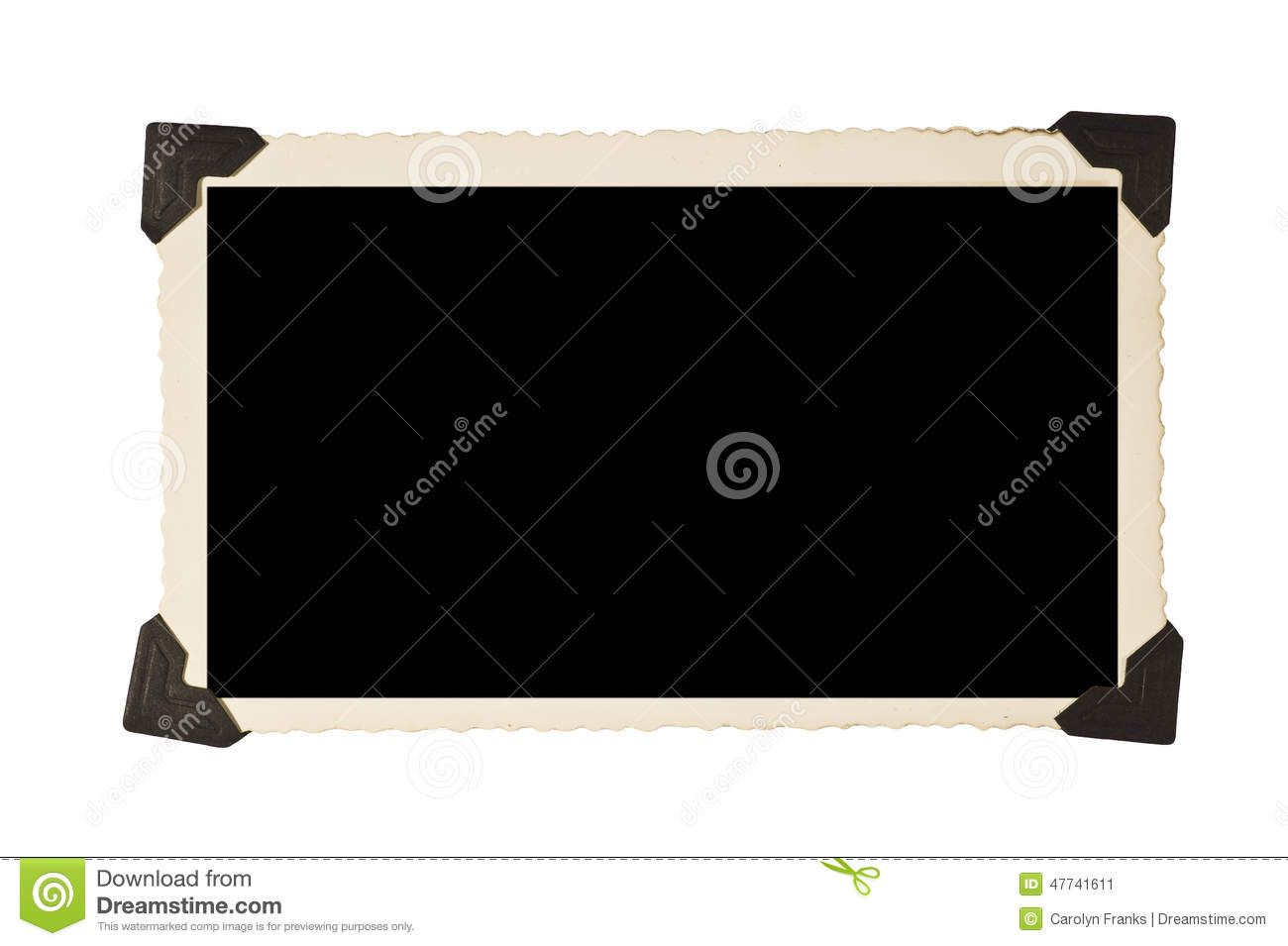 Rectangular old picture frame with photo corners stock for Picture frame corners