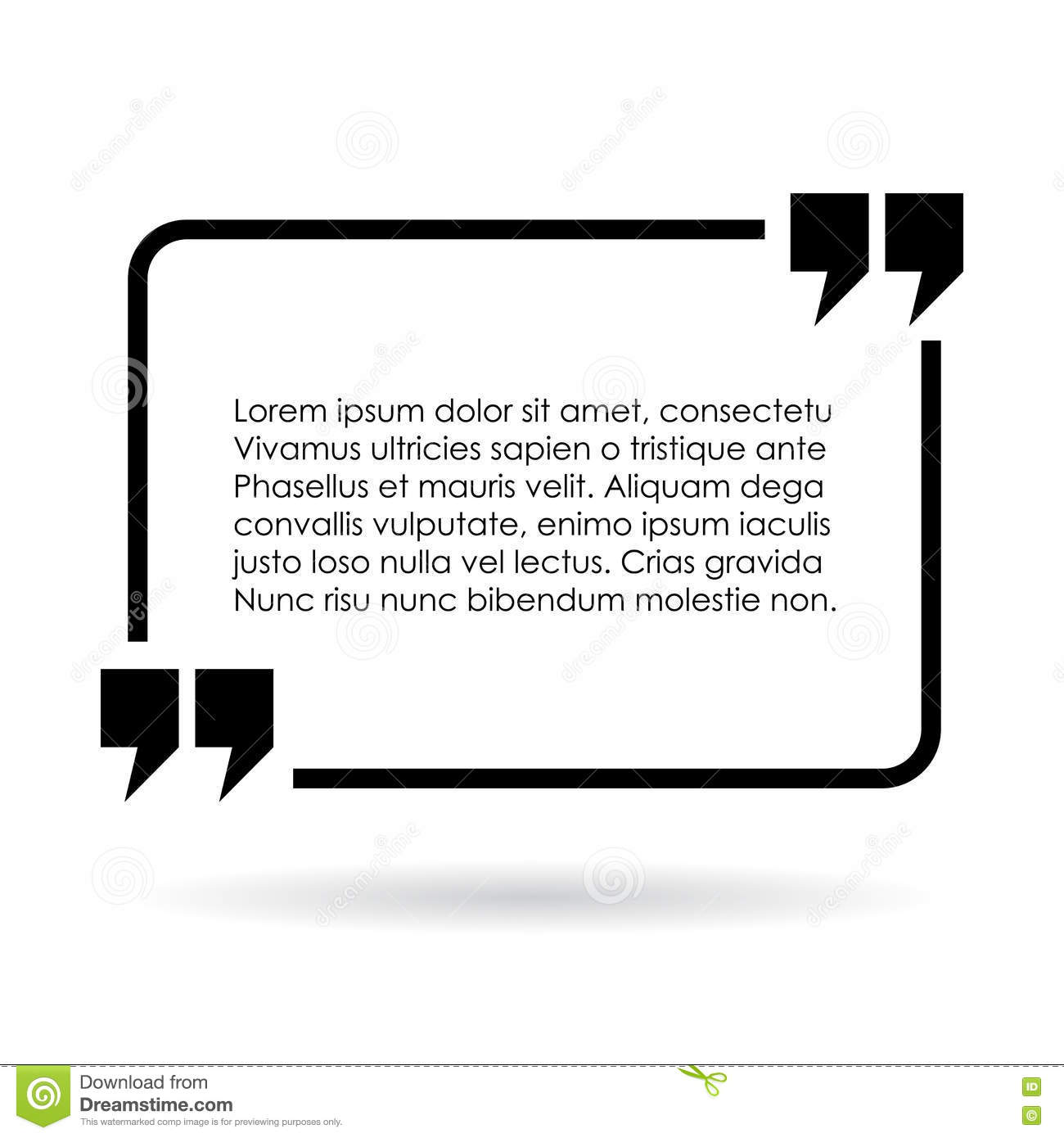Rectangular Quote Text Frame Stock Vector
