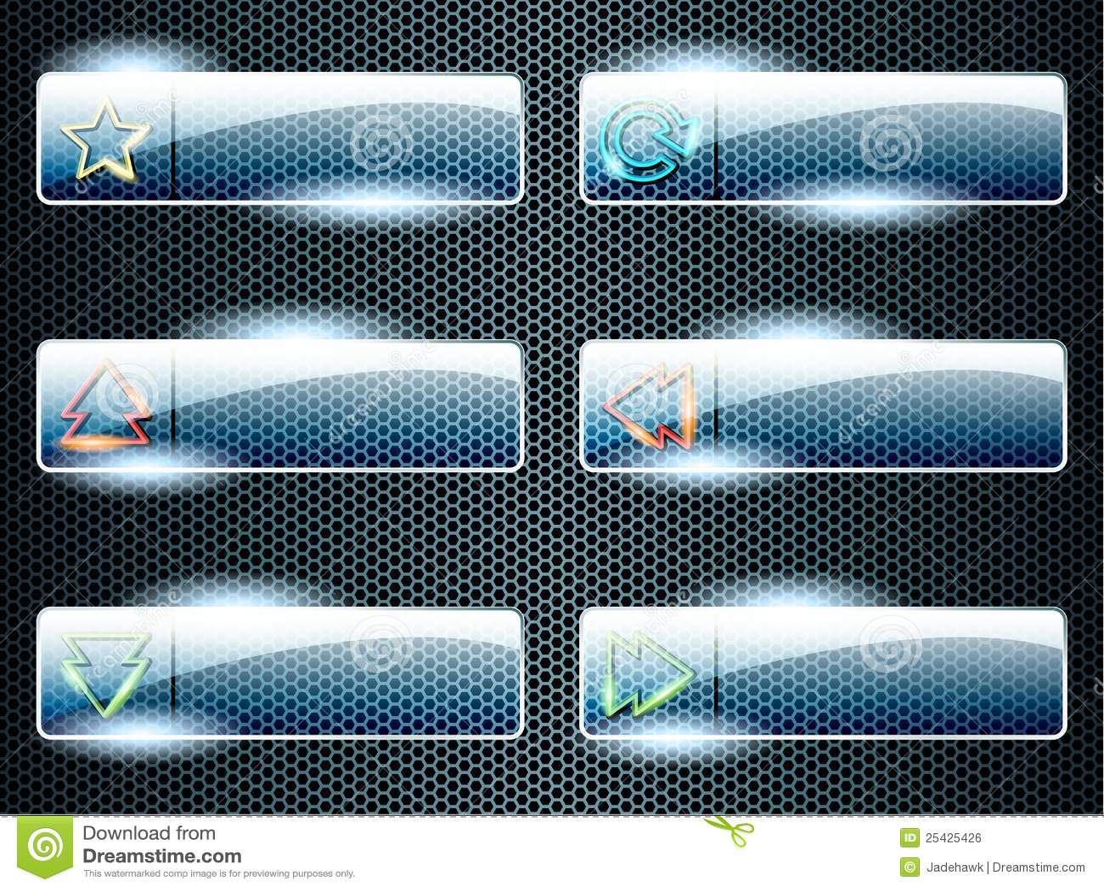 Rectangular transparent glass buttons