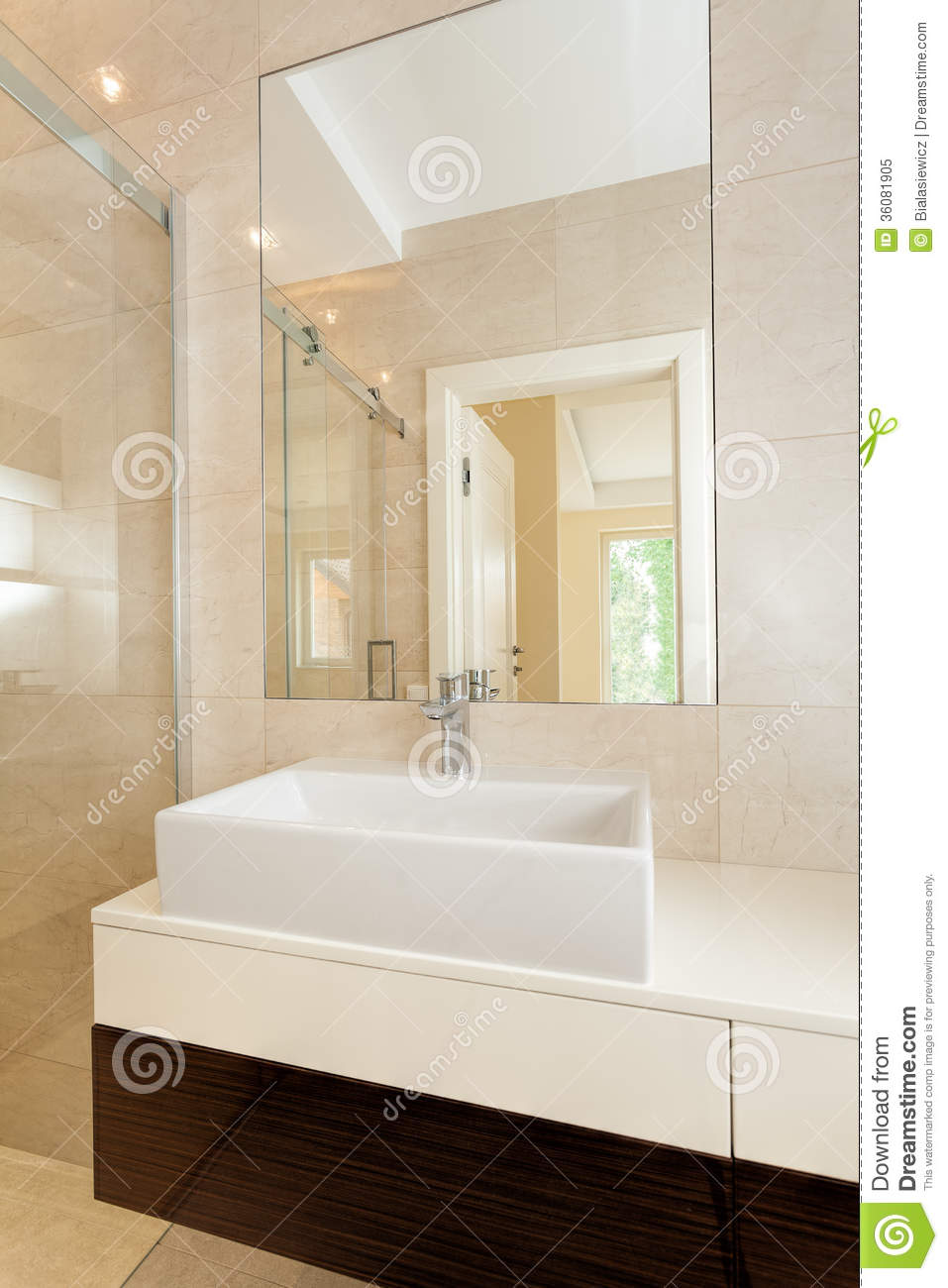 Sink bowl bathroom - Rectangular Vessel Sink In Modern Bathroom Royalty Free