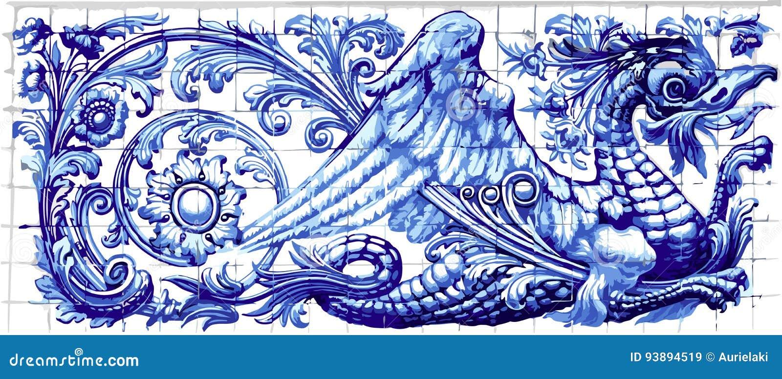 Recuerdo azul Vecto realista de Dragon Azulejo Ceramic Tile Magnet