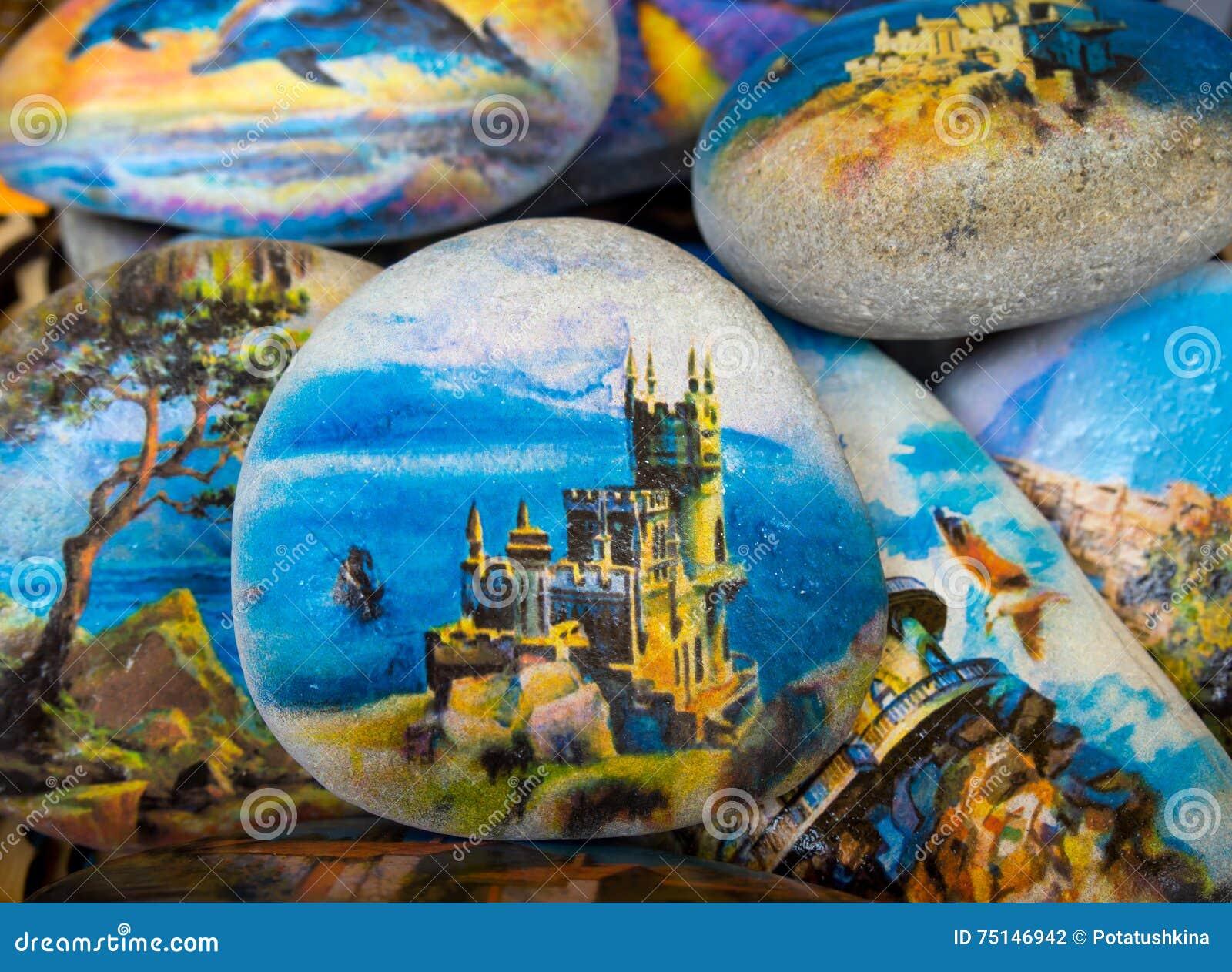 Recuerdo crimeo - una piedra con una imagen de la jerarquía del trago del castillo