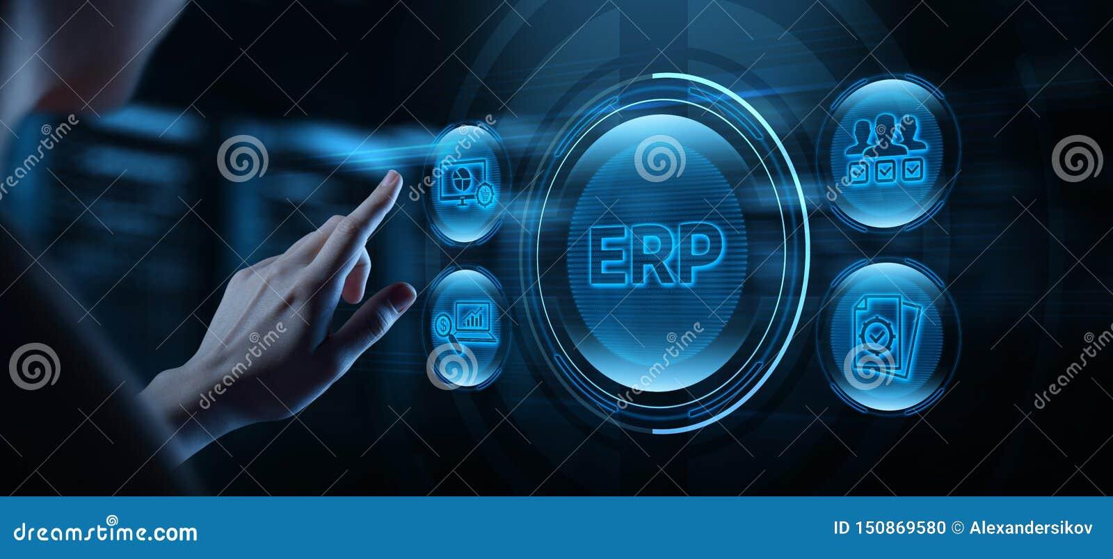 Recurso de la empresa que planea concepto de Internet del negocio del ERP