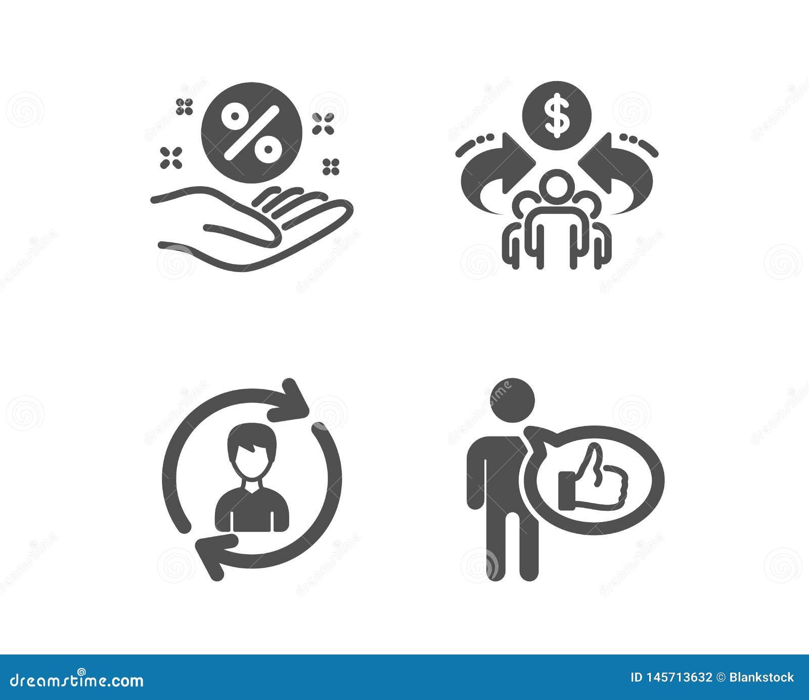Recursos humanos, compartilhando de ícones da economia e dos por cento do empréstimo Como o sinal Atualize o perfil, parte, mão d