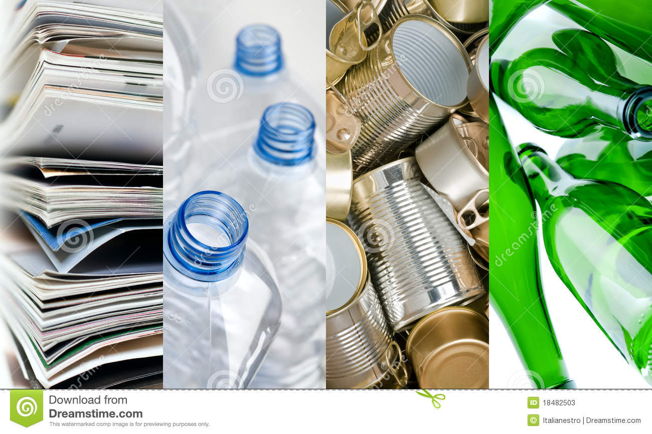 Recyclable materials stock image image of green for Waste material items