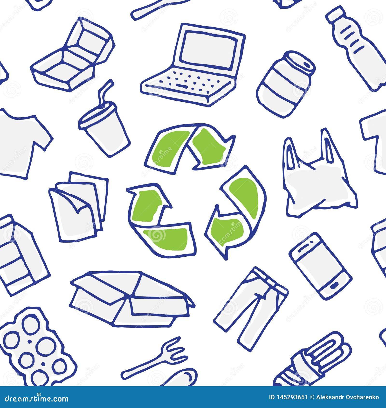 Recyclable rzeczy wektorowa bezszwowa deseniowa ręka rysująca