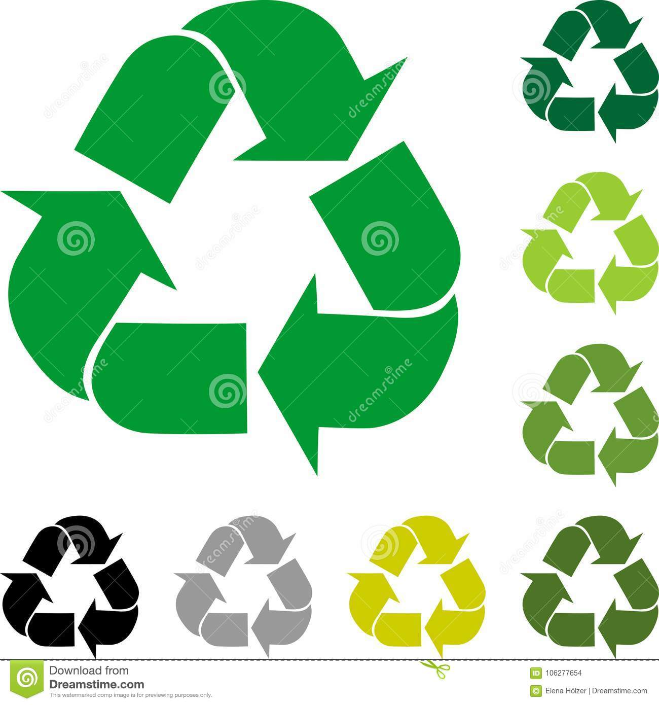 Download Recycle Arrows Signs Collection Logo In Color Stock Vector
