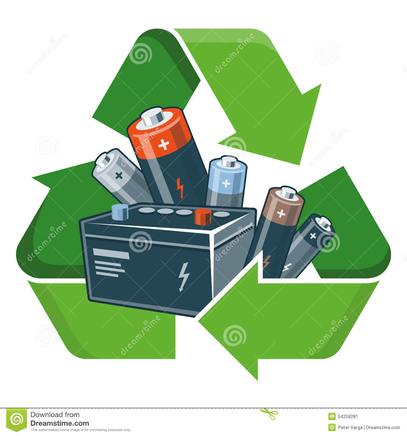 Used Car Batteries >> Recycle Batteries Stock Vector - Image: 54259281