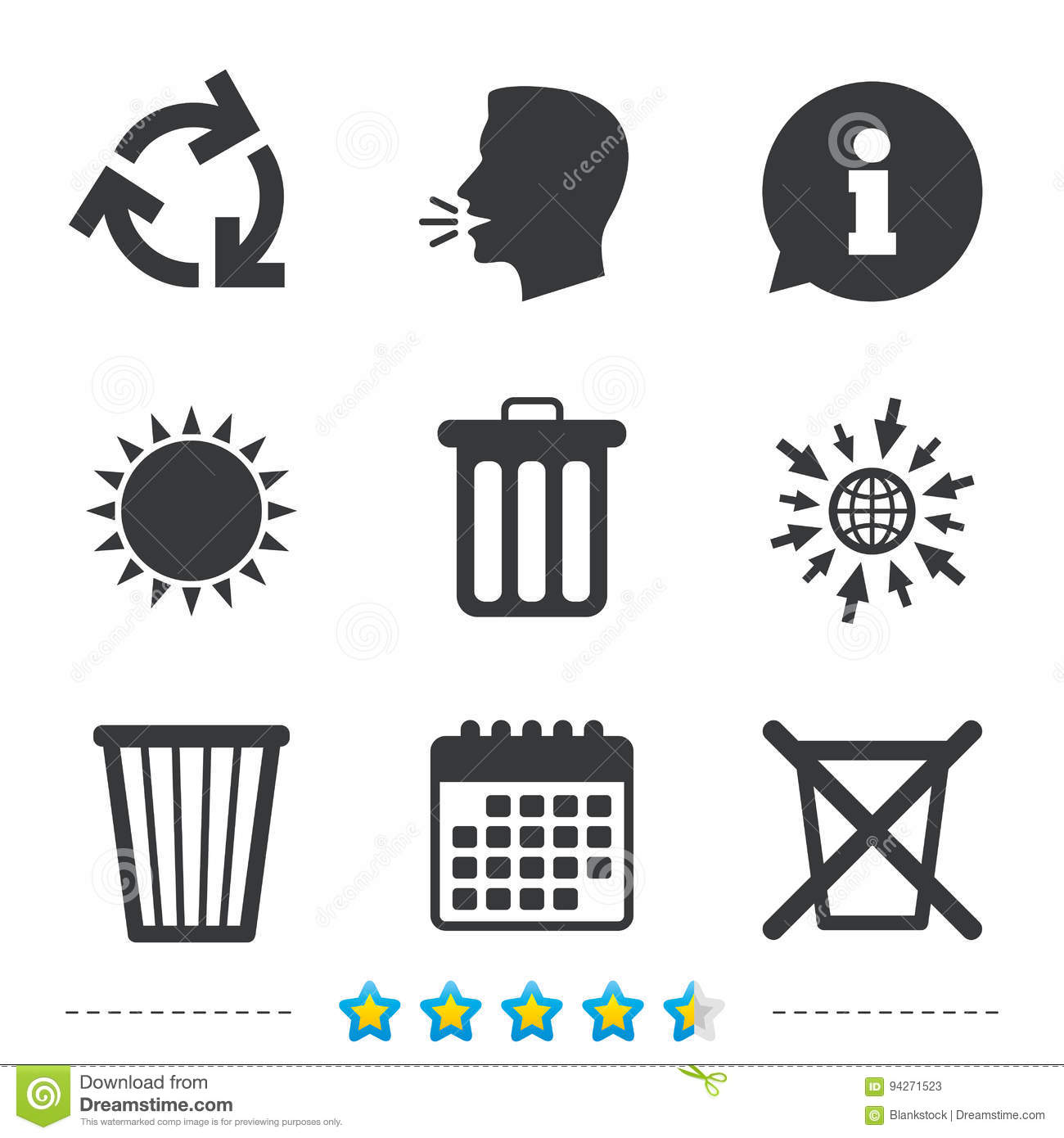 Recycle Bin Icons Reuse Or Reduce Symbol Stock Vector