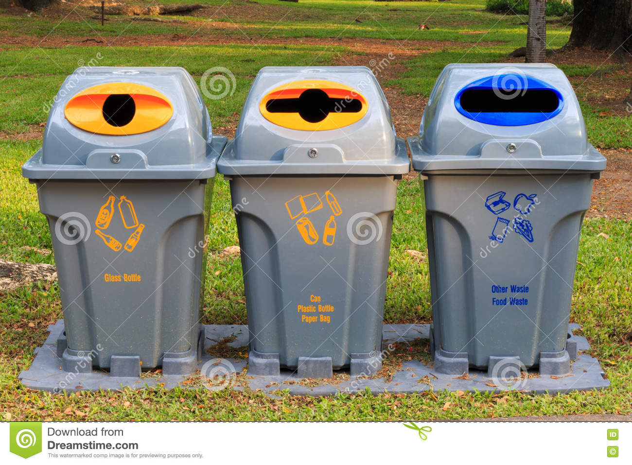 recycle bins at public park public garbage bins stock images