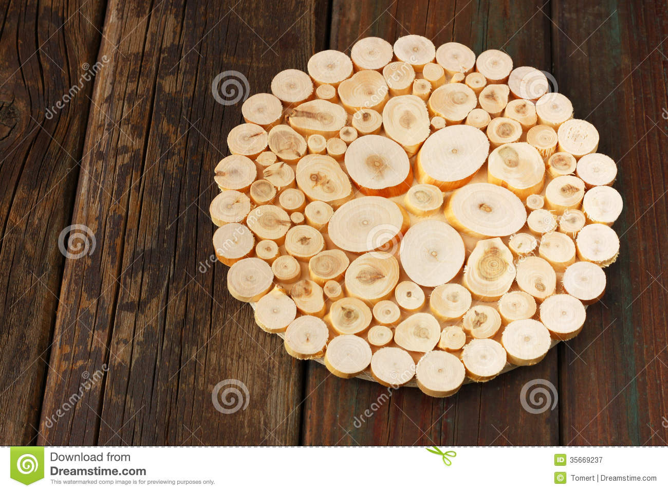 Recycle Concept Decorative Recycled Wood Slices On Wooden