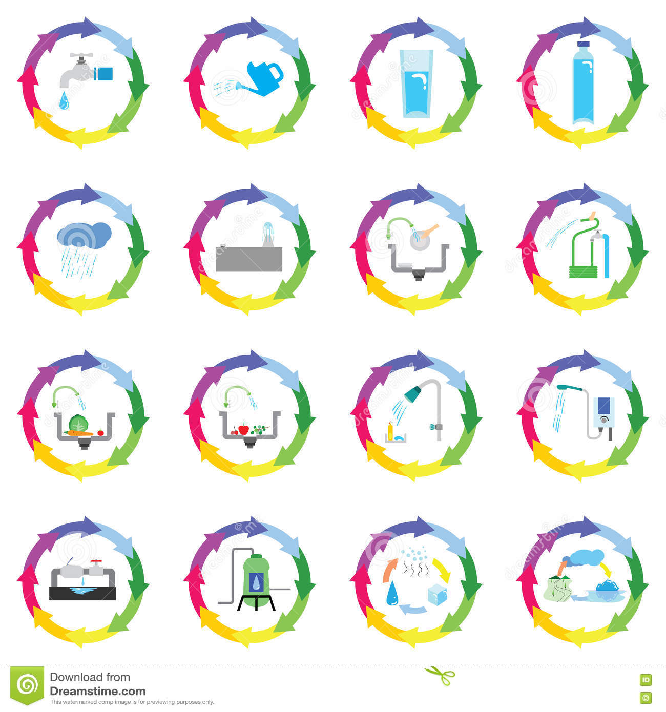 Recycle And Conservation Symbol For Water Use Stock Vector