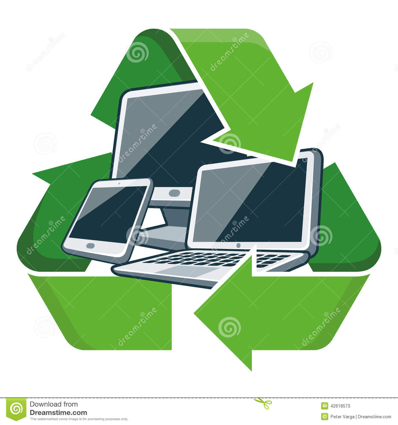 Recycle Electronic Devices Stock Vector Illustration Of Reuse