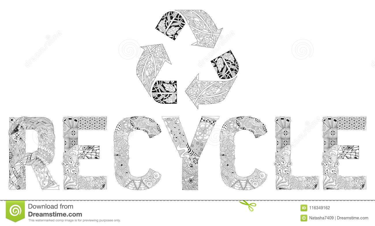 Recycle icon illustration for coloring vector decorative zentangle