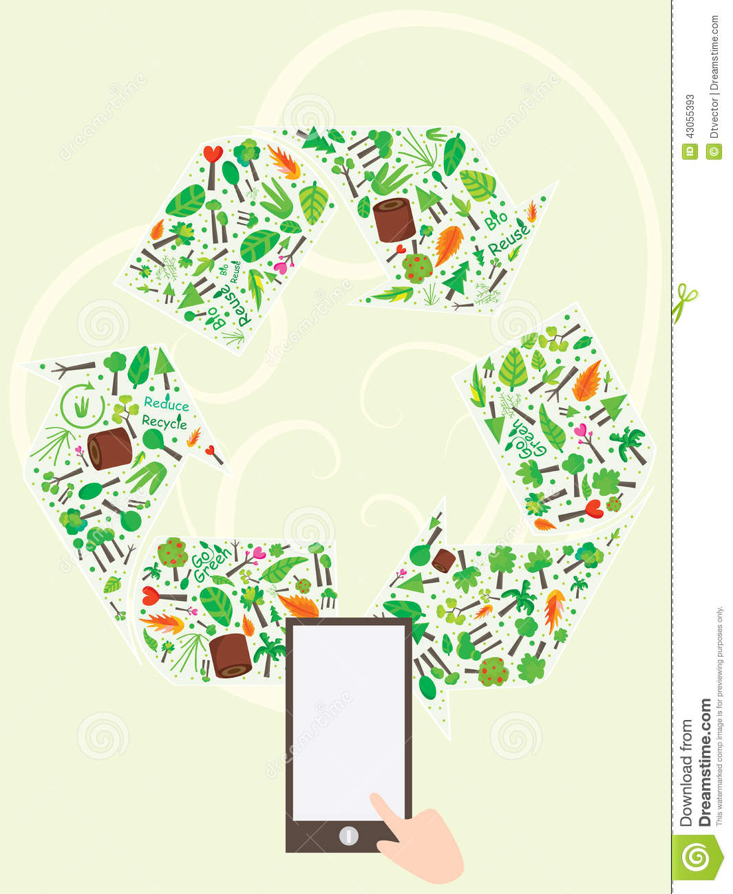 Recycle Icon Tree Page stock vector. Illustration of borders - 43055393