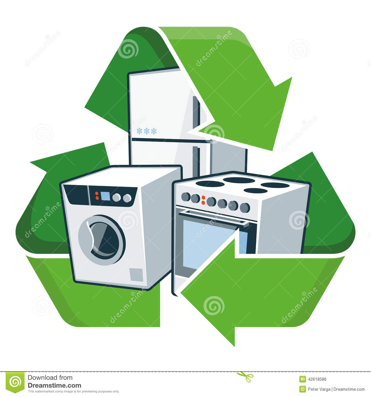 Recycle Large Electronic Appliances Stock Vector Illustration Of Electronics Scrap Recycling Pictures