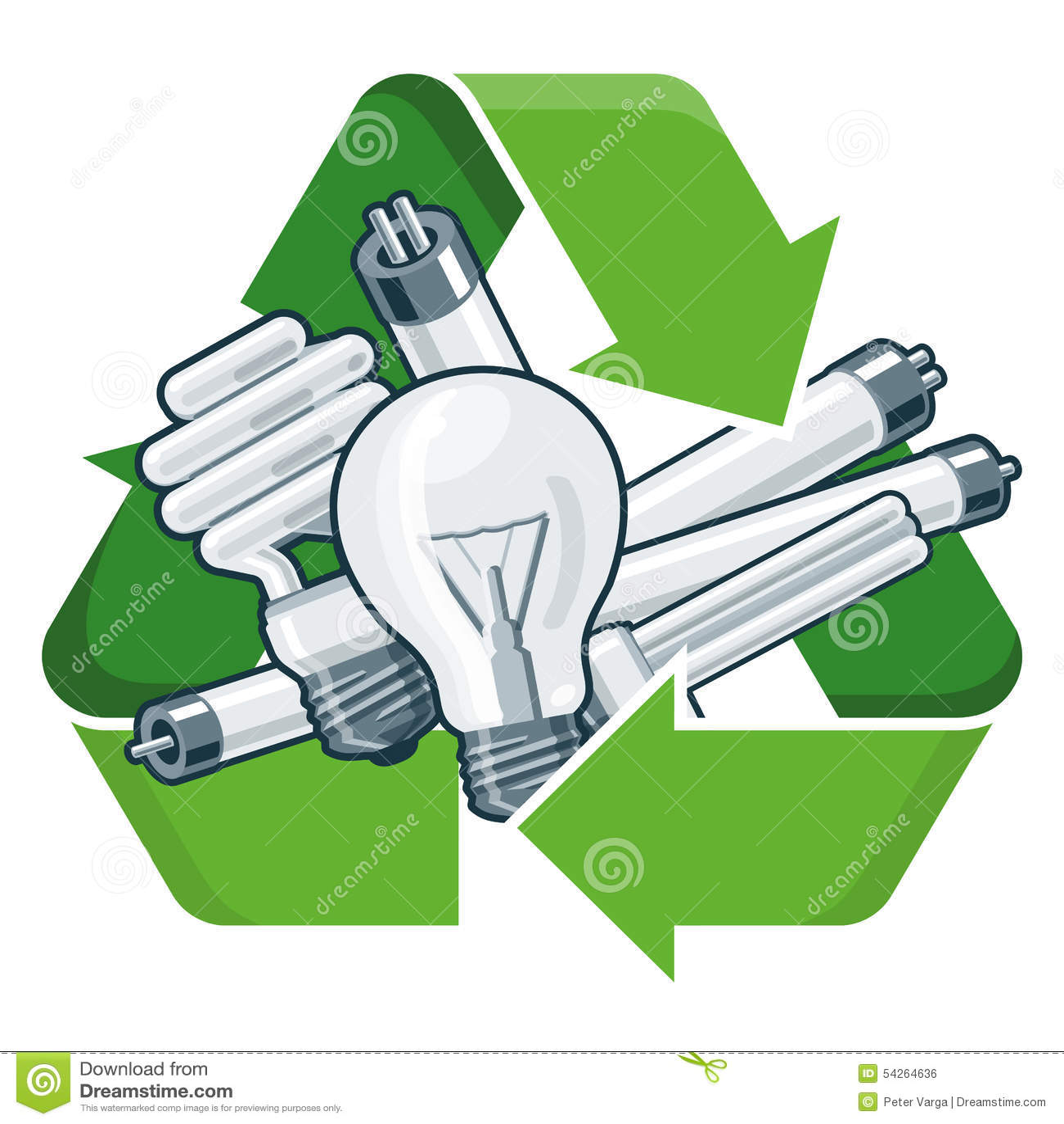 Recycle Light Bulbs Stock Vector Image 54264636