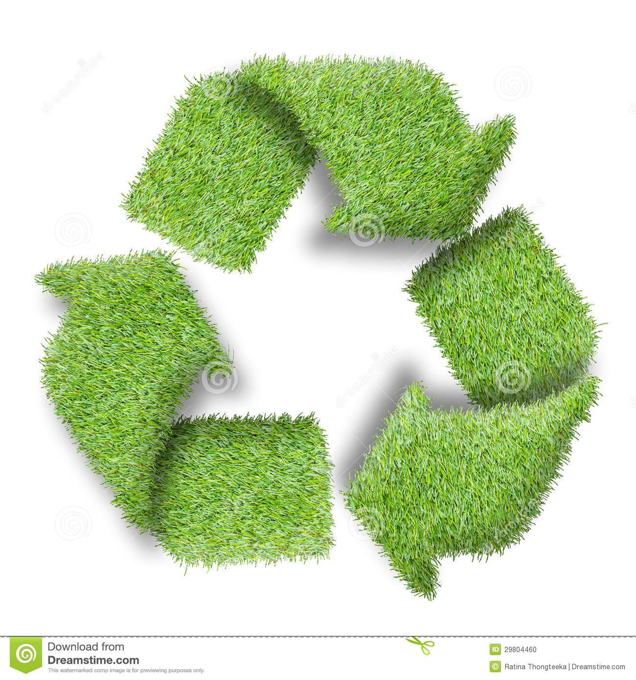Recycle Logo Symbol From The Green Grass Stock Photo Image
