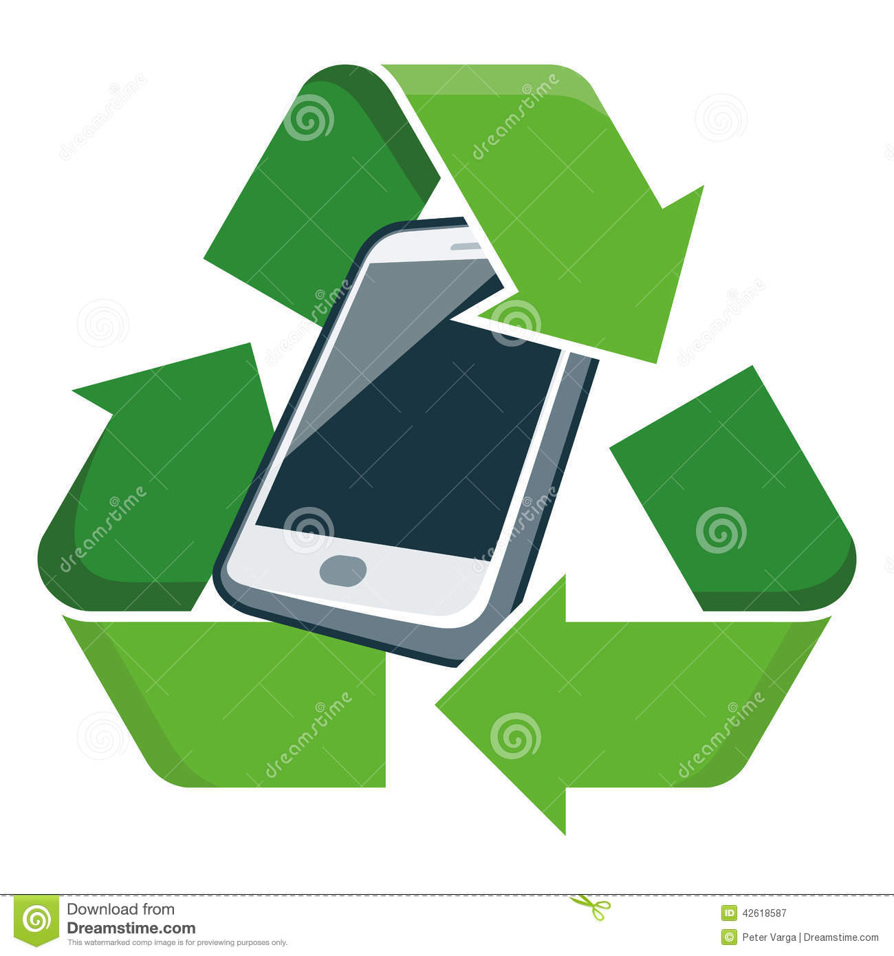 Recycle mobile phone stock vector image 42618587 - Recycling mobel ...