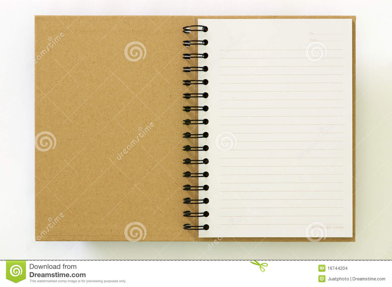 Recycle Paper Notebook First Page Stock Photo