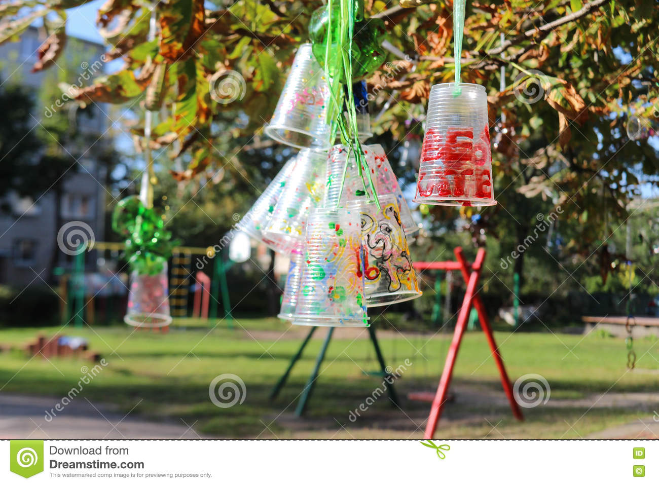 Recycle Project Of Plastic Bottles And Cups, Colored With Different ...