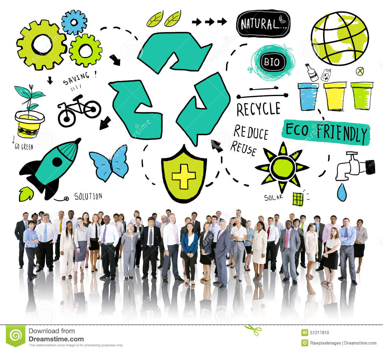 Eco Friendly Workers: Recycle Reuse Reduce Bio Eco Friendly Environment Concept