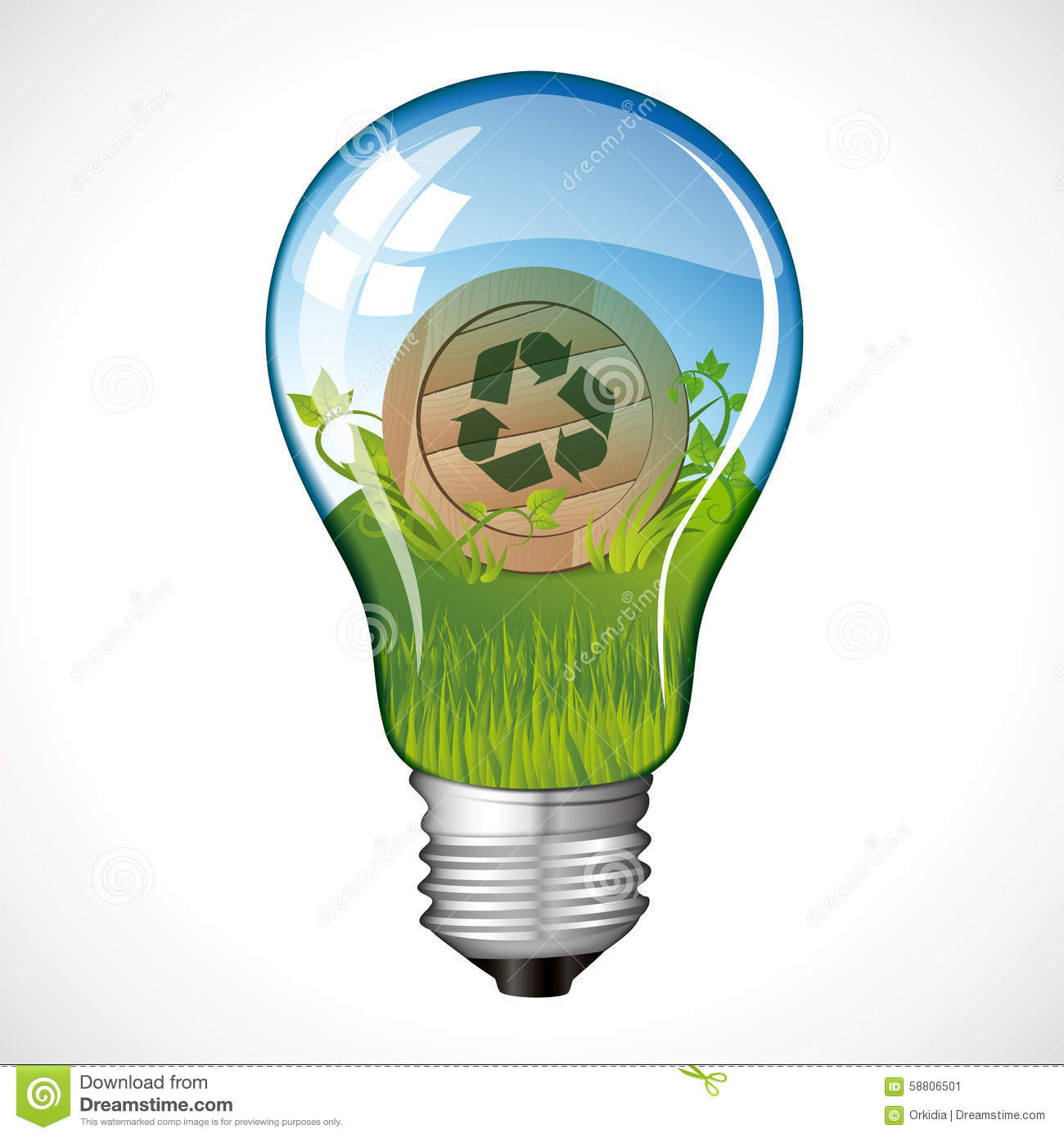 Recycle Sign Light Bulb Stock Vector Image Of Energy 58806501