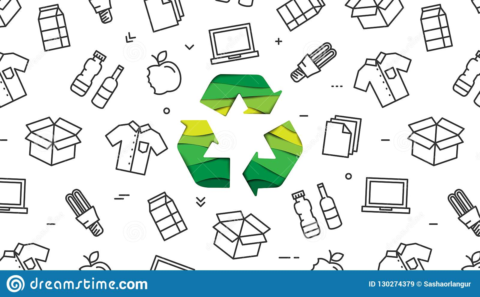 Recycle sign paper cut style with recyclable products vector illustration