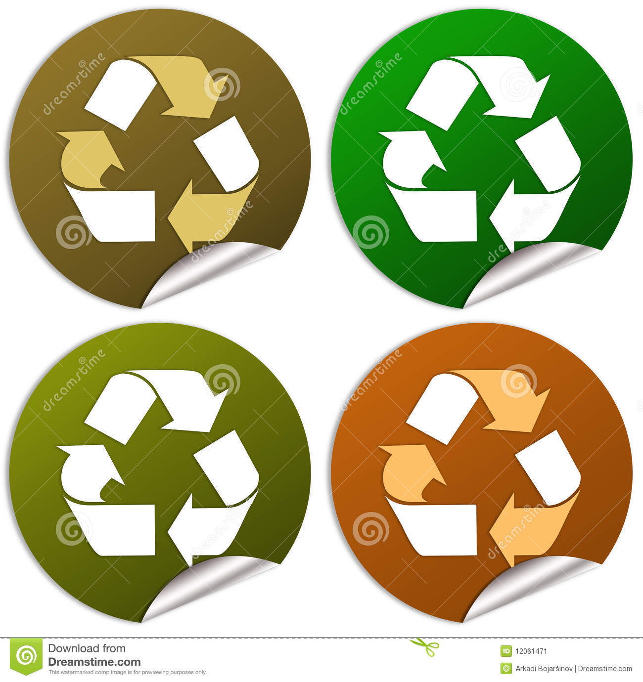Recycle Stickers Stock Illustration Illustration Of Friendly 12061471