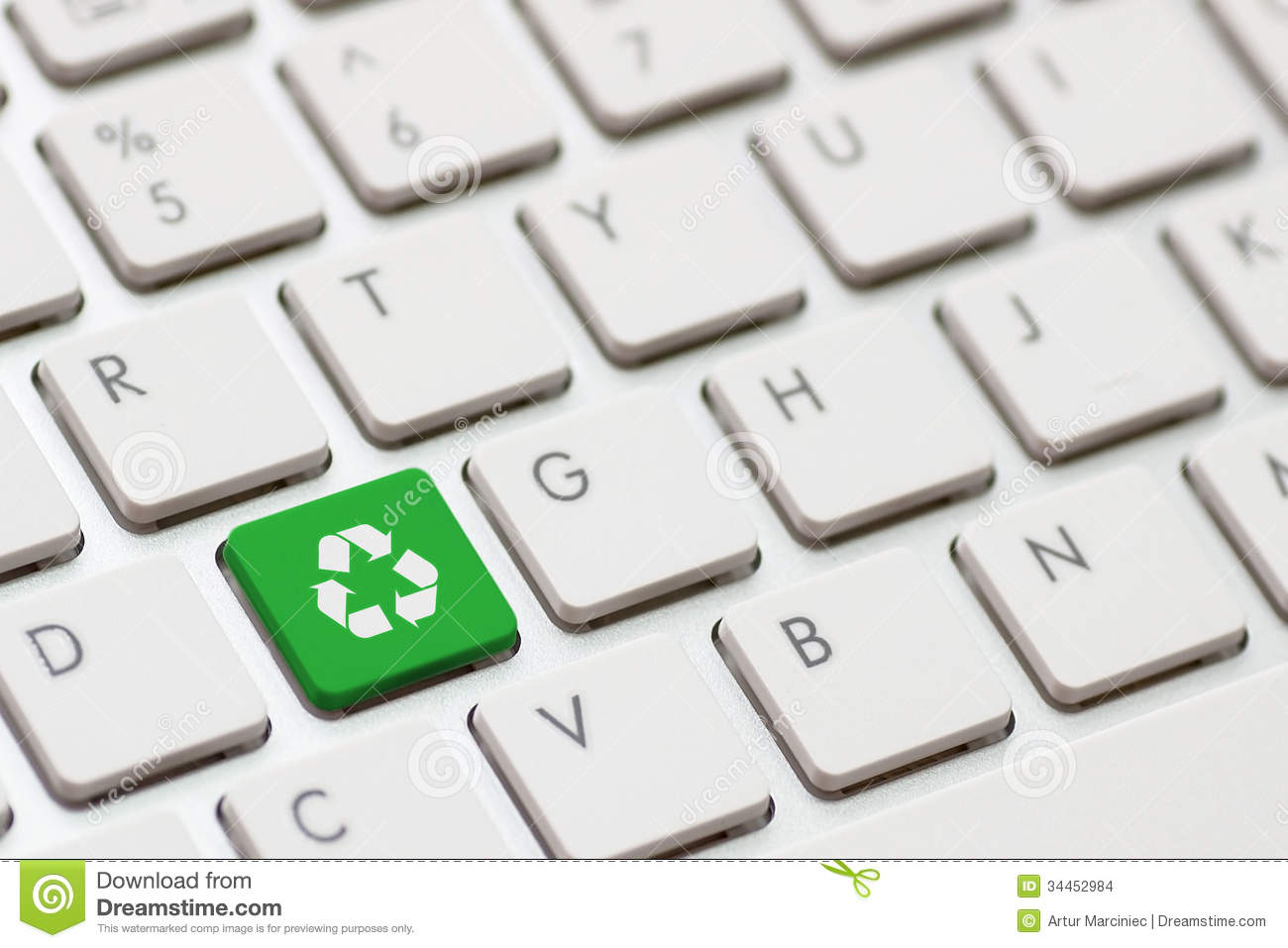 Recycle Symbol On A Computer Keyboard Stock Photo Image Of