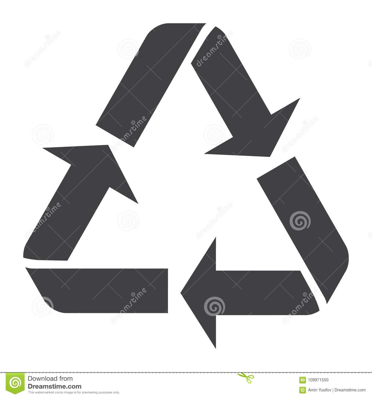 recycle symbol glyph icon eco and delivery stock vector