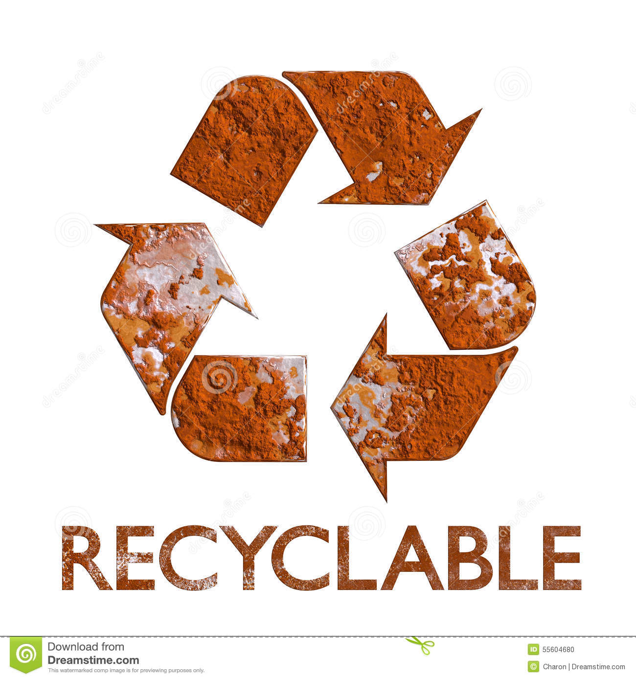 Recycle Symbol Rust Metal Recycling Stock Illustration