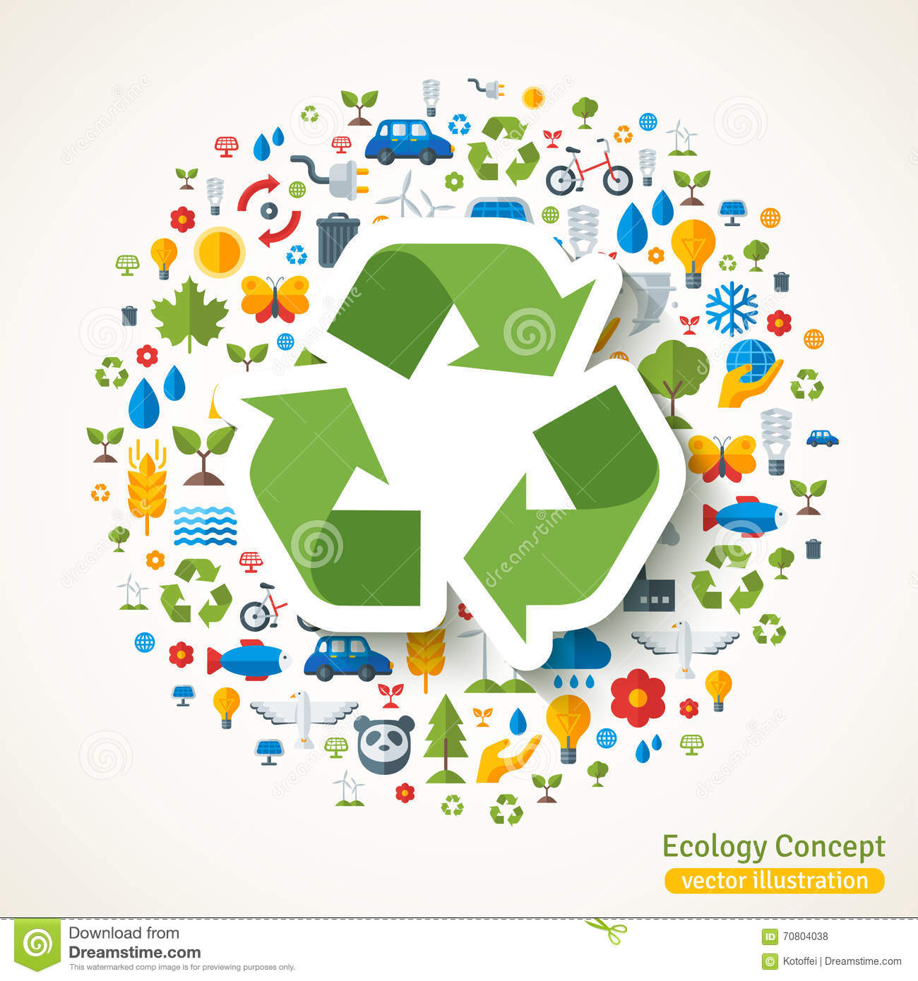 Recycle Symbol Sticker And Ecology Icons Stock Vector Illustration