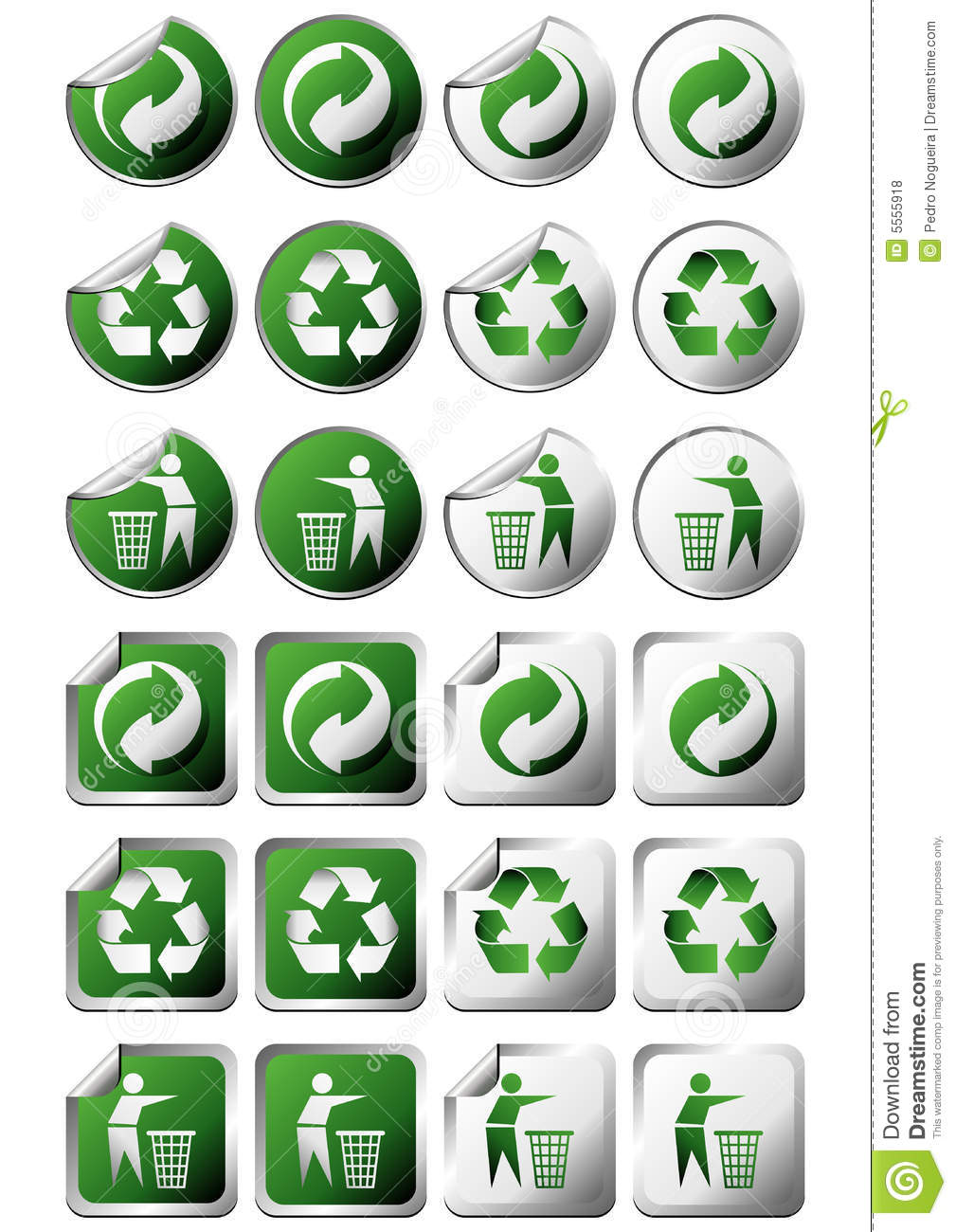 Recycle Symbol Stickers Stock Vector Illustration Of Green 5555918