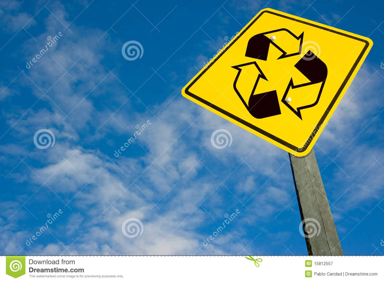 Recycle Symbol On Traffic Sign Royalty Free Stock