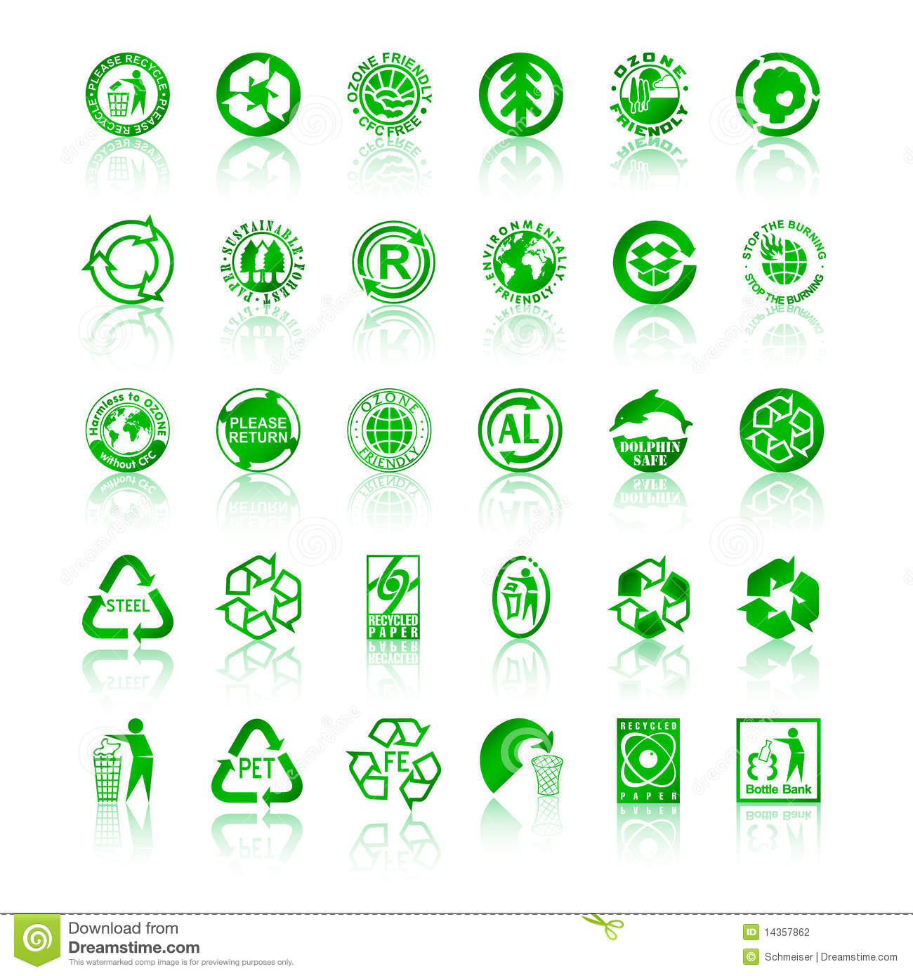 Recycle symbols with glossy reflections isolated on white background