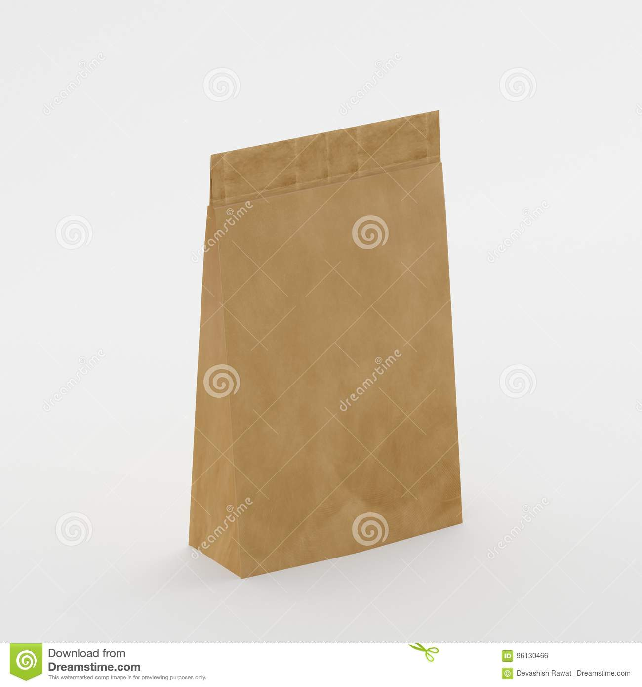 recycled brown paper bag mock up template on isolated white