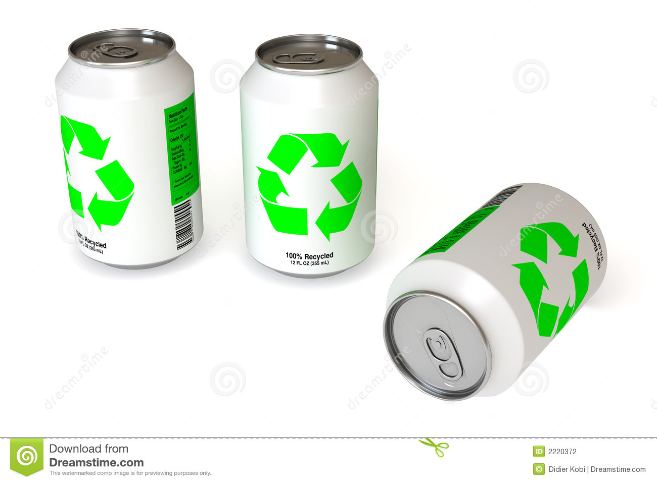 Soda cans with recycling logo isolated over a white background. This ...