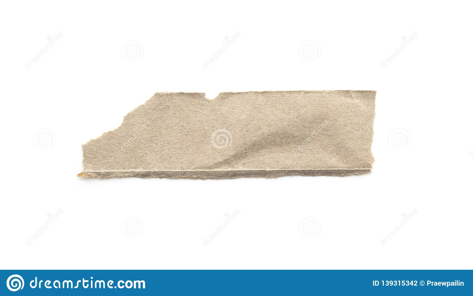 Recycled paper craft stick on a white background. Brown paper torn or ripped pieces of paper isolated on white
