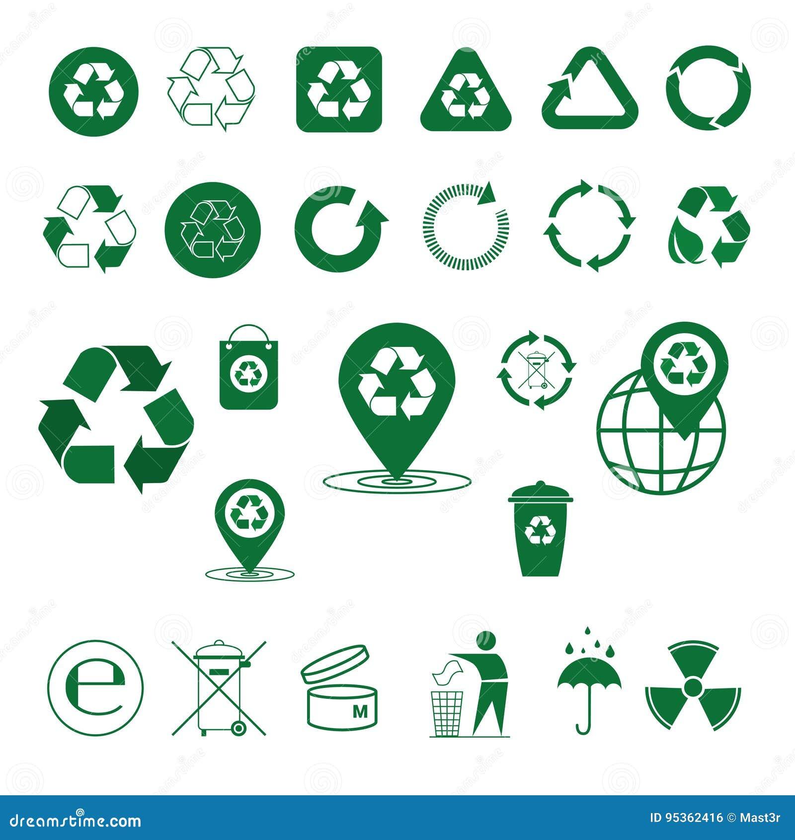 Recycleer de Groene Pijlen Logo Set Web Icon Collection van het Afvalsymbool