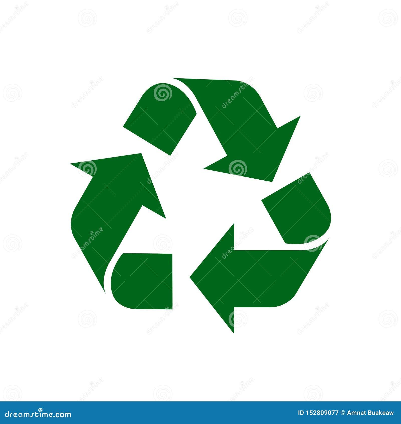 Recycleer groen symbool geïsoleerd op witte achtergrond, het groene teken van het ecologiepictogram, groene pijlvorm voor het kri