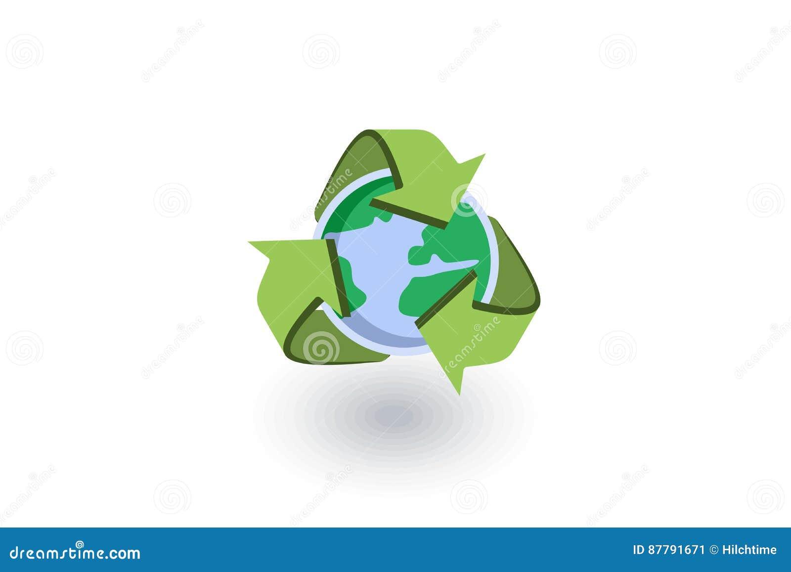 Recycleer pijlen en aarde isometrisch vlak pictogram 3d vector