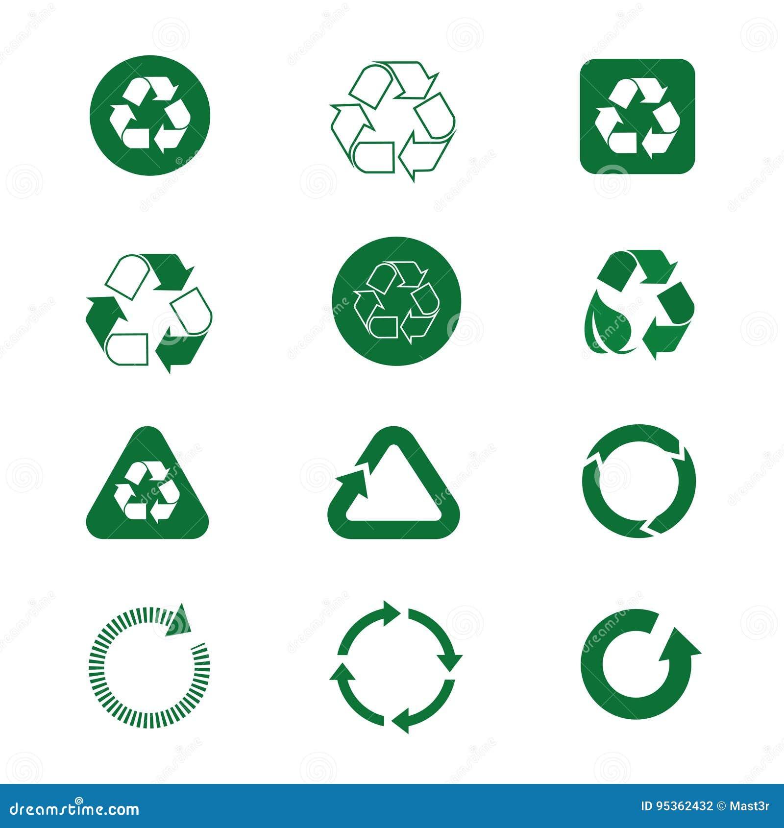 Recycleer Symbool Groene Pijlen Logo Set Web Icon Collection