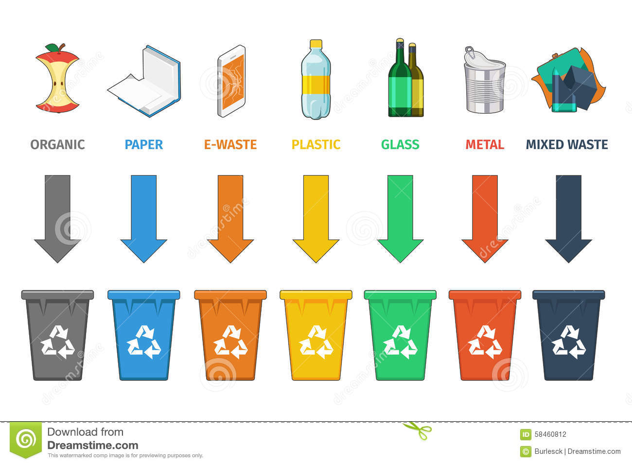 ... Trash and waste, sign concept garbage, container and can. Vector