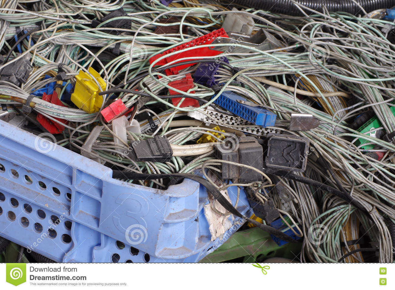 Recycling Car Electric Wiring Set Stock Photo - Image of engine ...