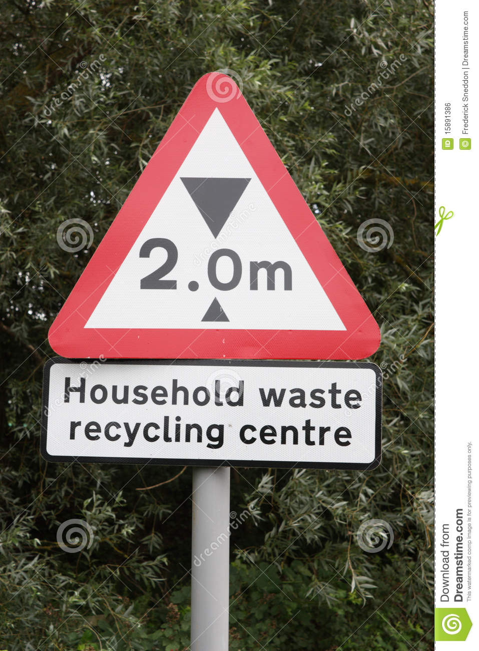 Recycling centre sign with height restriction royalty free for Household waste recycling centre design