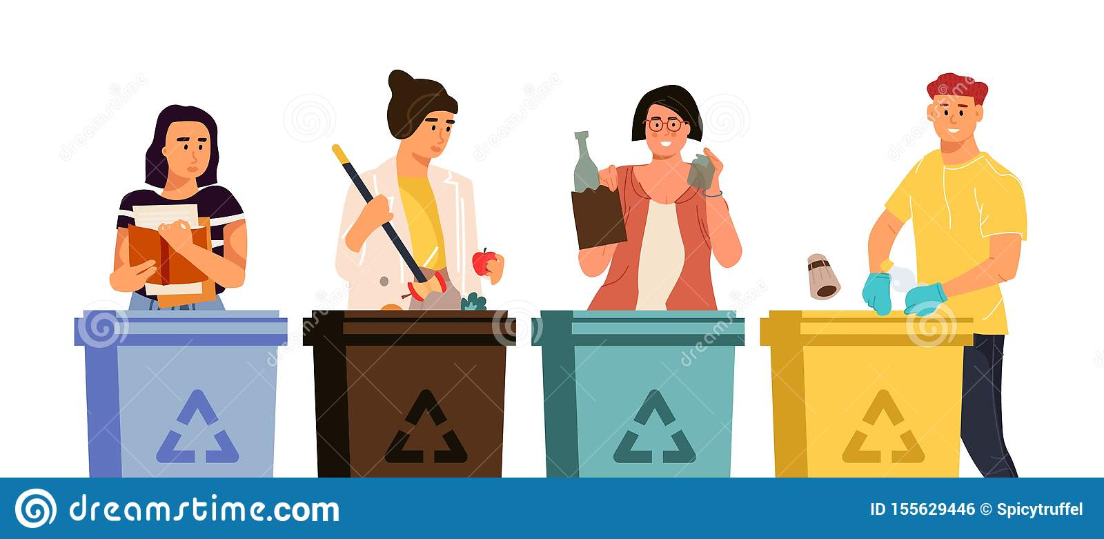 Recycling characters. Cartoon men and women putting trash in different containers, garbage sorting concept. Vector