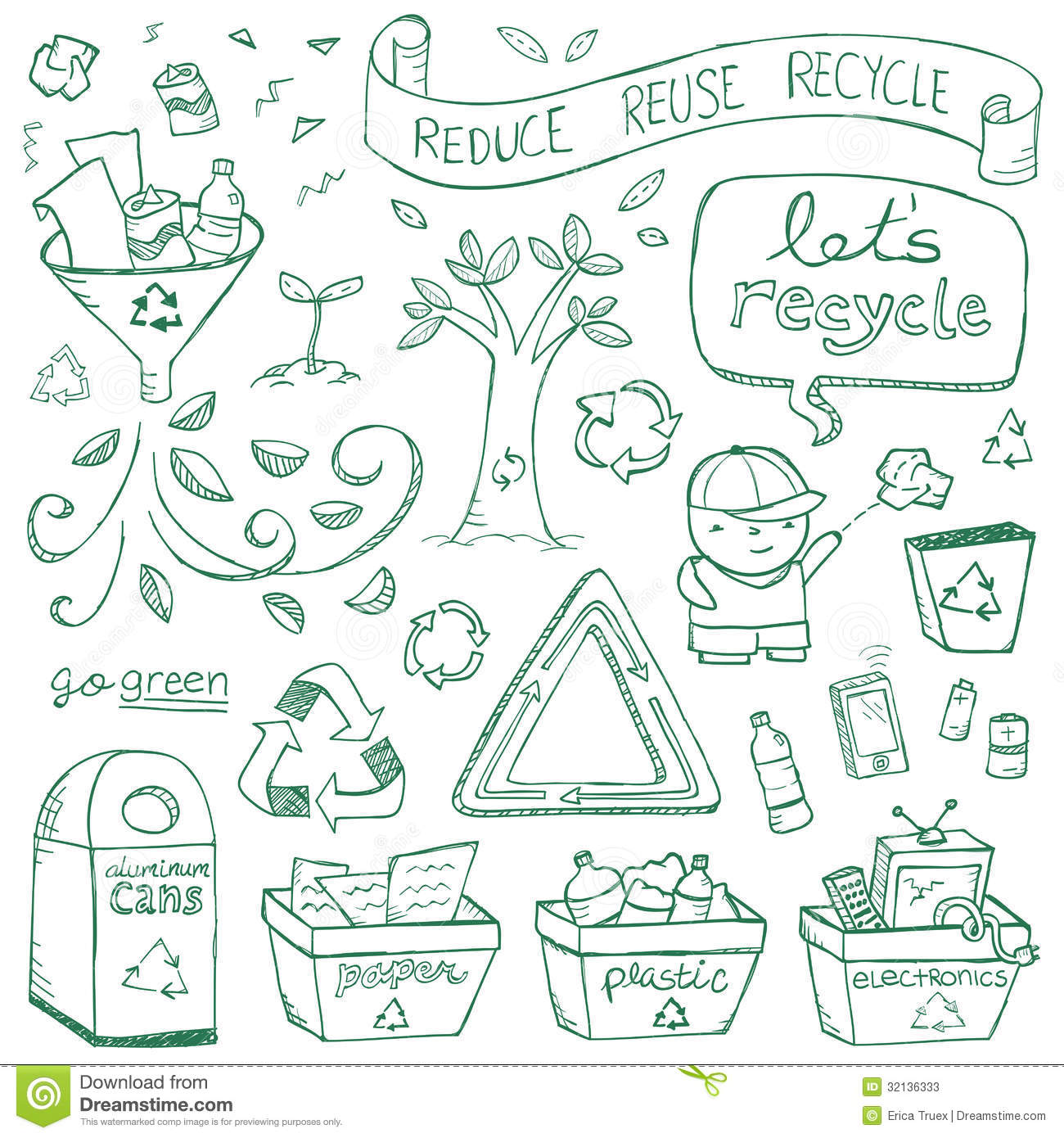Recycling illustrations drawn in a doodled style.