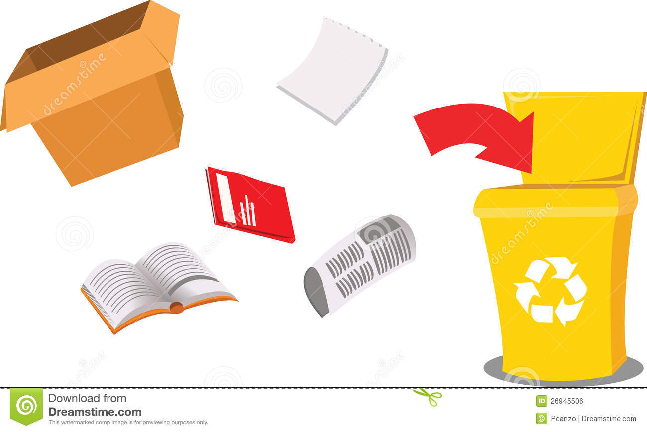 cartoon representing a recycling bin and some paper objects.